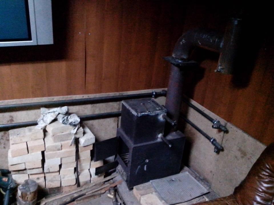 Водяное отопление в гараже от печки