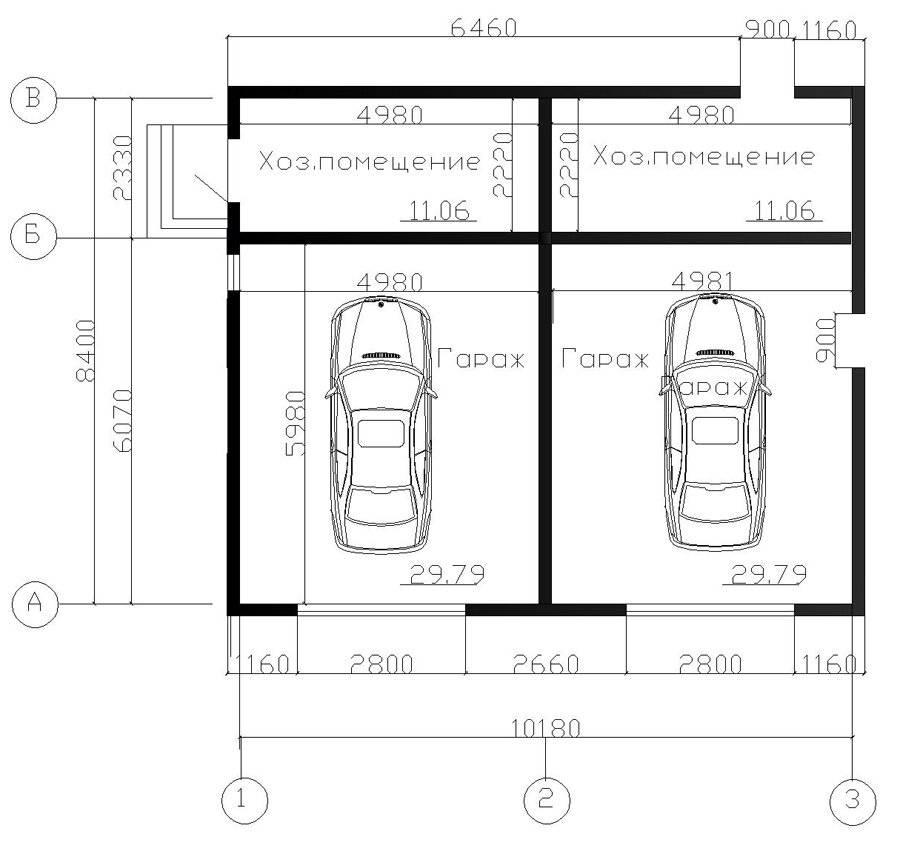 Проект гаража на 2 машины: размеры и чертежи каркасного оптимального гаража с хозблоком