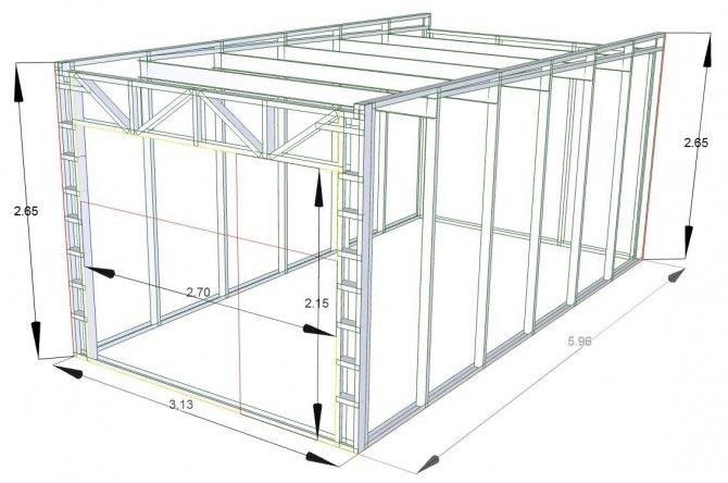 Каркасный гараж – пошаговые этапы работ с фото, схемами и видео
