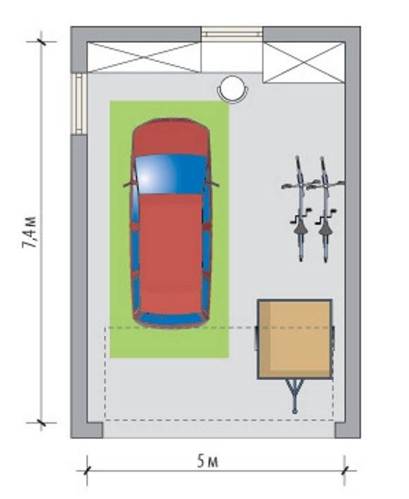 Размеры гаража на 1 машину оптимальные чертеж