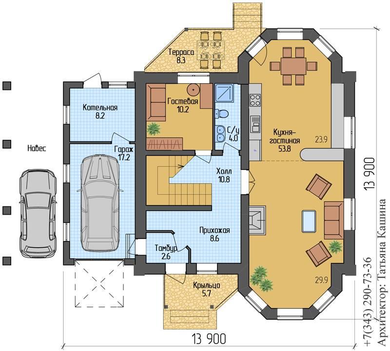 Проекты домов с цокольным этажом и гаражом: планы одноэтажных и двухэтажных домов
