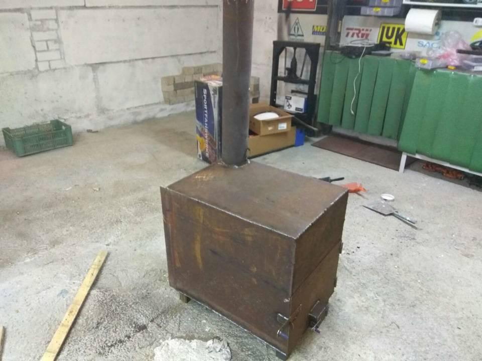 Печка для гаража своими руками на дровах и отработке: чертежи, установка