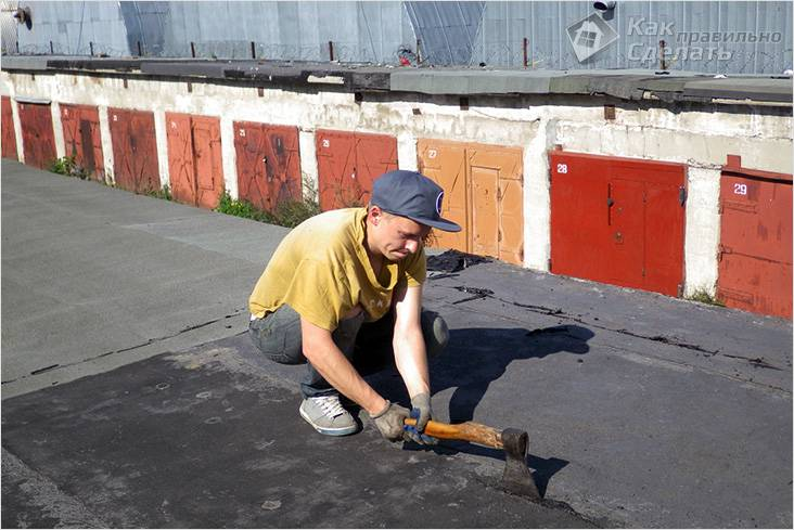 Недорогой и быстрый ремонт крыши гаража своими руками. поэтапно