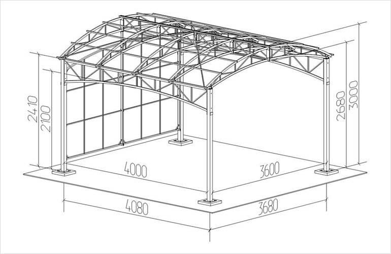 Каркасный гараж из профильной трубы своими руками: чертеж каркаса из профтрубы