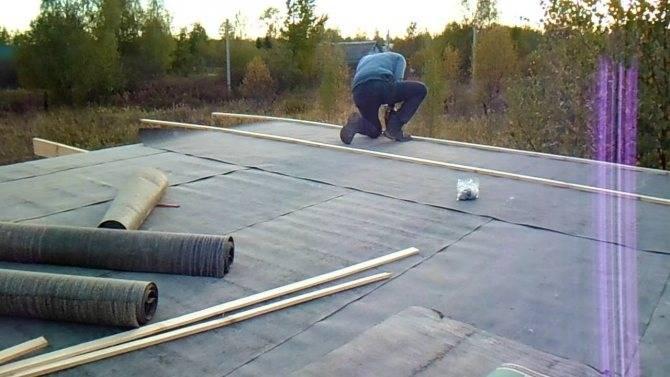 Укладка гидроизоляции бикроста на крышу