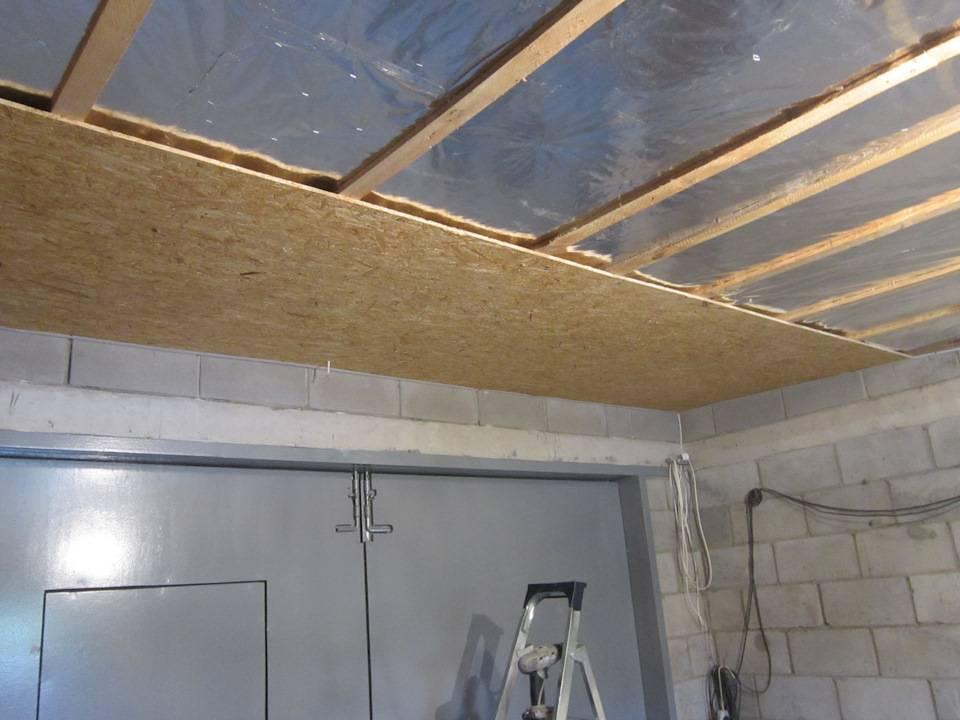 Чем обшить потолок в гараже