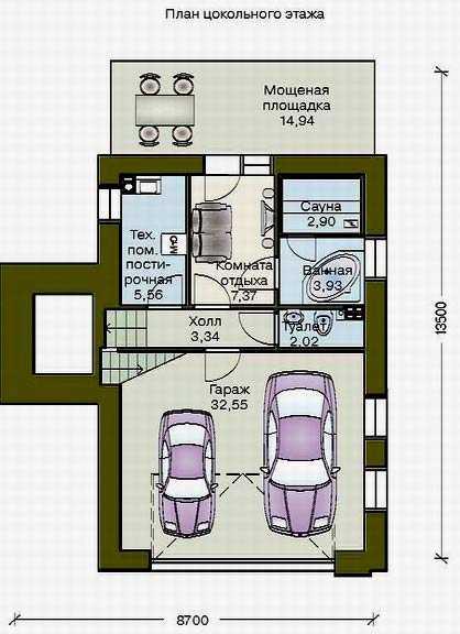 Дом с гаражом в цокольном этаже: выбор проекта, особенности   погреб-подвал