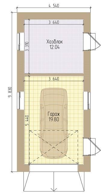 Проект гаража на 2 машины с хозблоком - варианты с погребом и навесом, чертежи построек