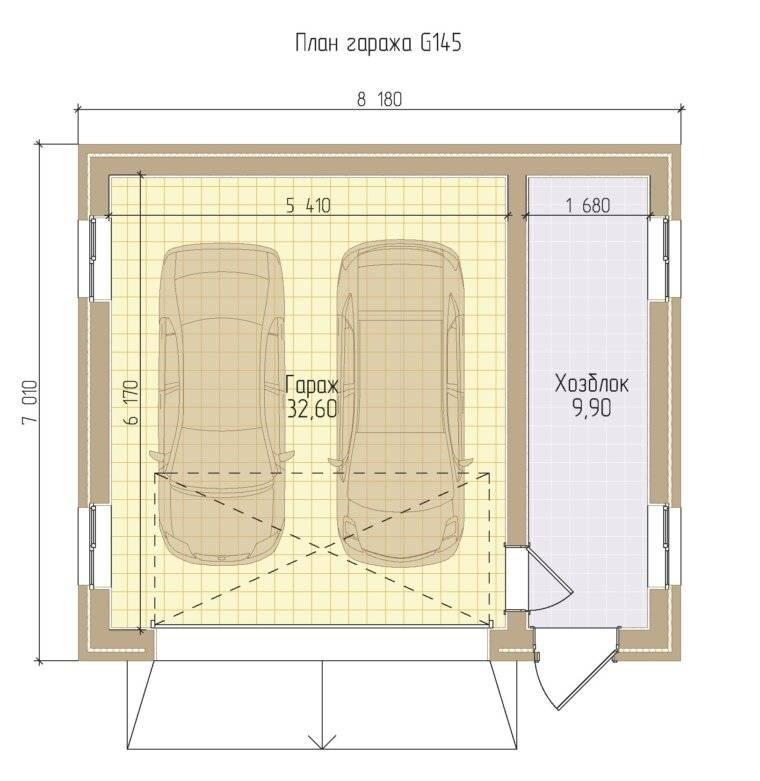 Размеры гаража на 1 машину оптимальные: проект и стандартная ширина, минимальные габариты