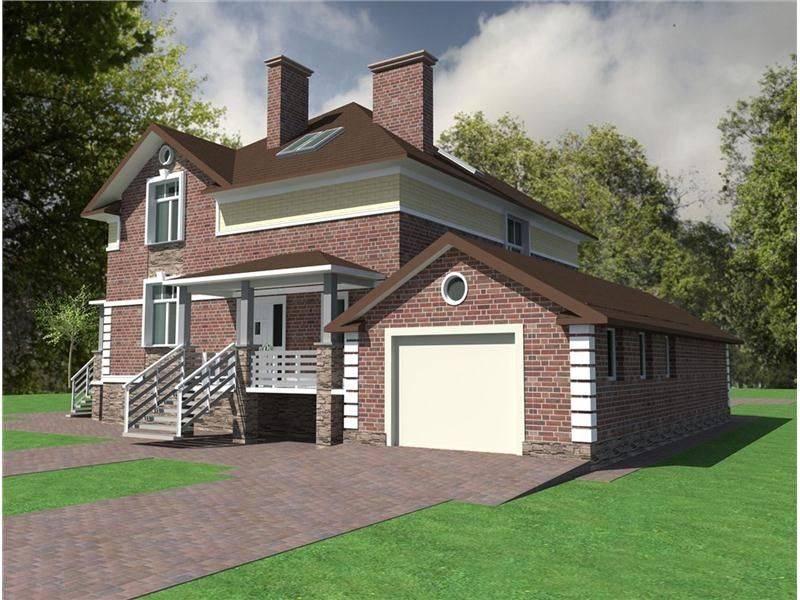 Проекты домов из кирпича с гаражом: двухэтажные кирпичные коттеджи