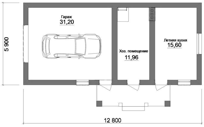 Проект гаража на 2 машины: гараж на два автомобиля с мансардой, постройка с хозблоком, мастерской и жилым вторым этажом, фото