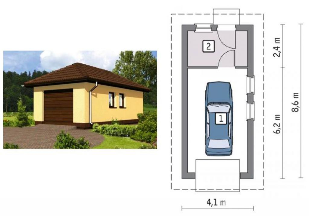 Варианты проектов гаражей, совмещенных с сараем и навесом: чертежи с размерами