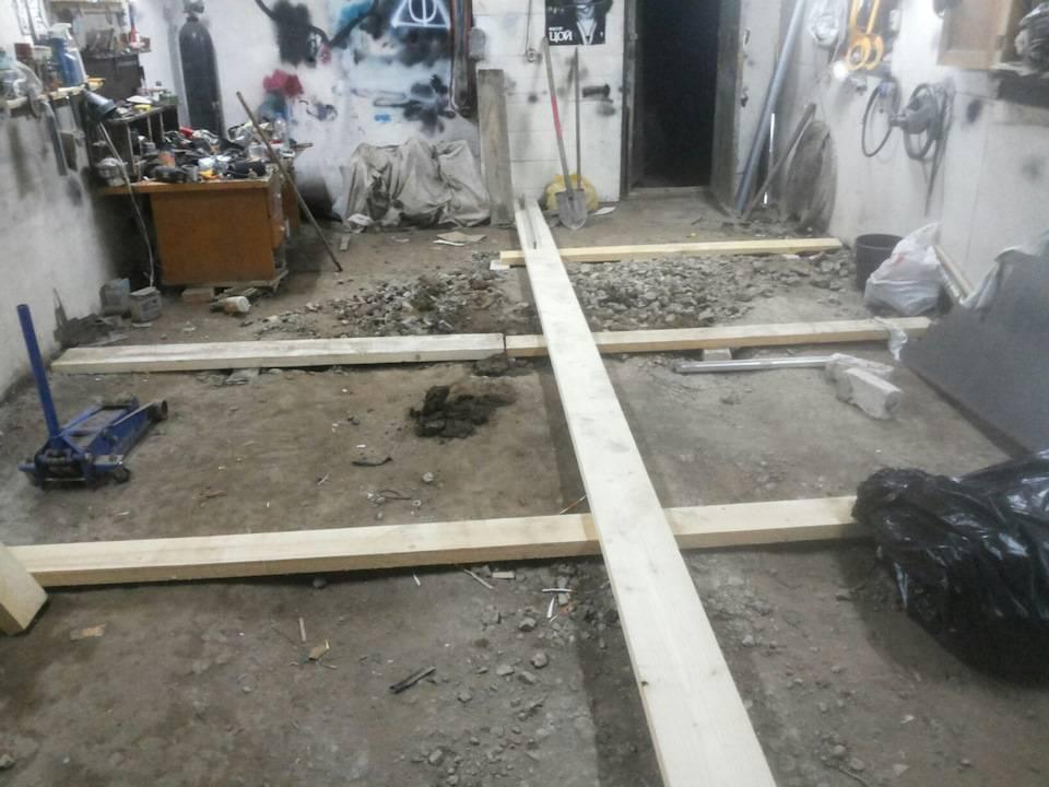 Деревянный пол в гараже: технология сооружения