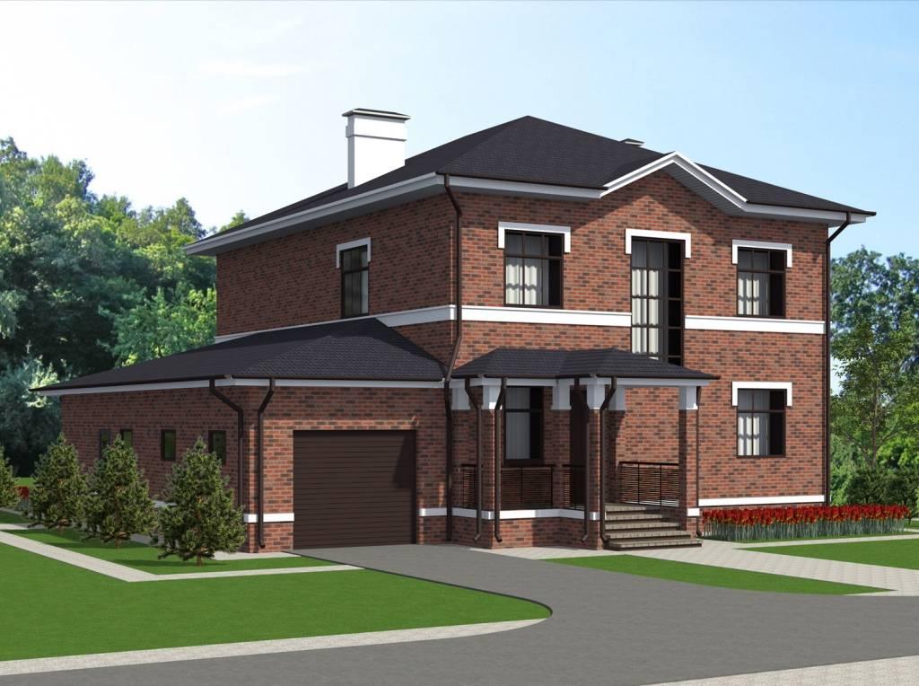 Современные проекты домов из кирпича с гаражом (25+ фото)   kladka kirpicha